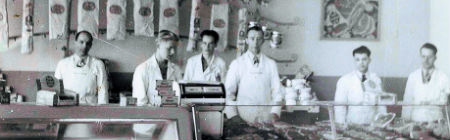 Historical photo of butchers at Butcher Block